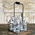 Basket - Metal w/Four Glass Bottles