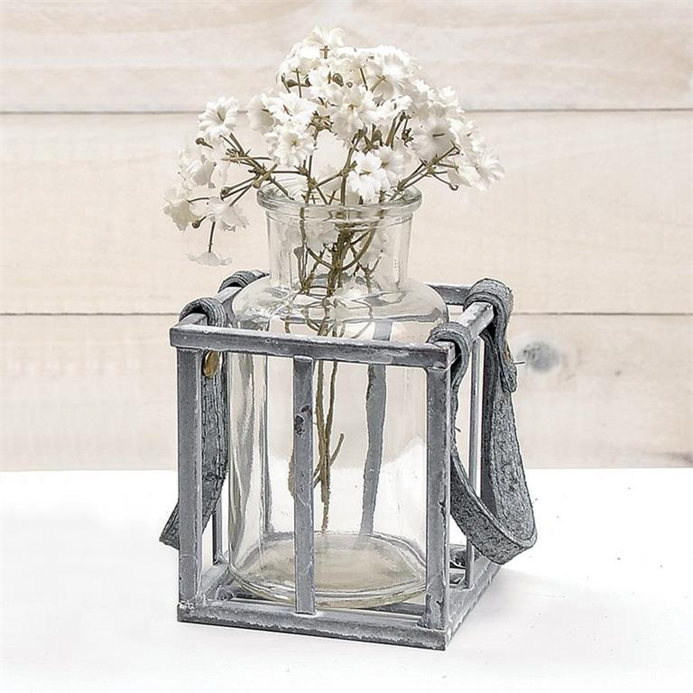 Basket - Metal w/Single Glass Bottle