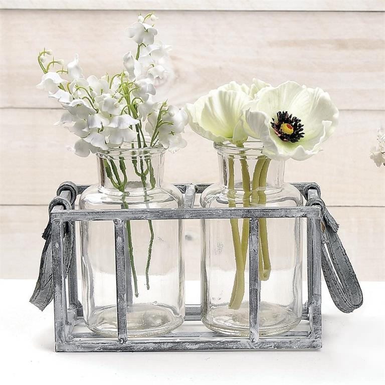Basket - Metal w/Two Large Glass Bottles