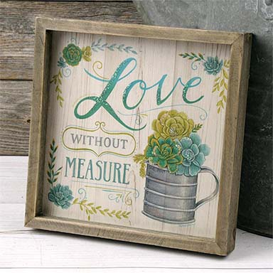 "Box Sign - ""Love"" With Succulents"