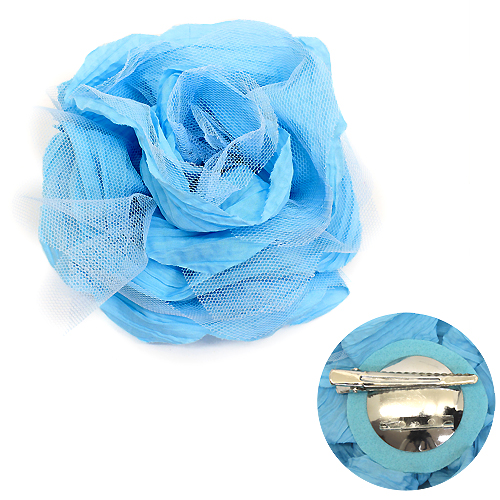 Brooch - Double Layered Rose, Blue