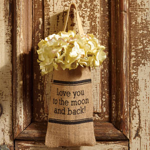 Burlap Bag - Love You To The Moon, Small