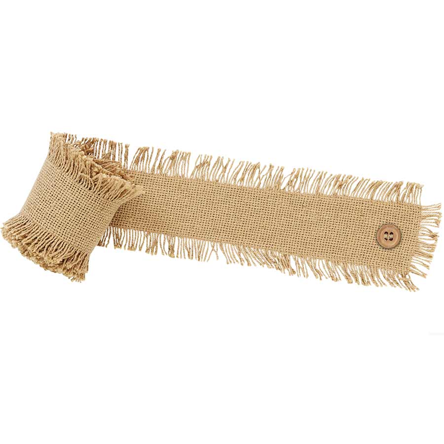 Burlap Garland - Natural, Fringed, 96""