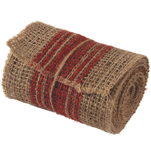 Burlap Ribbon - Red Stripe