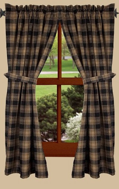 CURTAIN PANEL - MILLBROOK CHECK (BLACK) 63'