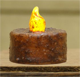 Candle - Tealight Burnt Mustard Timer w/Switch