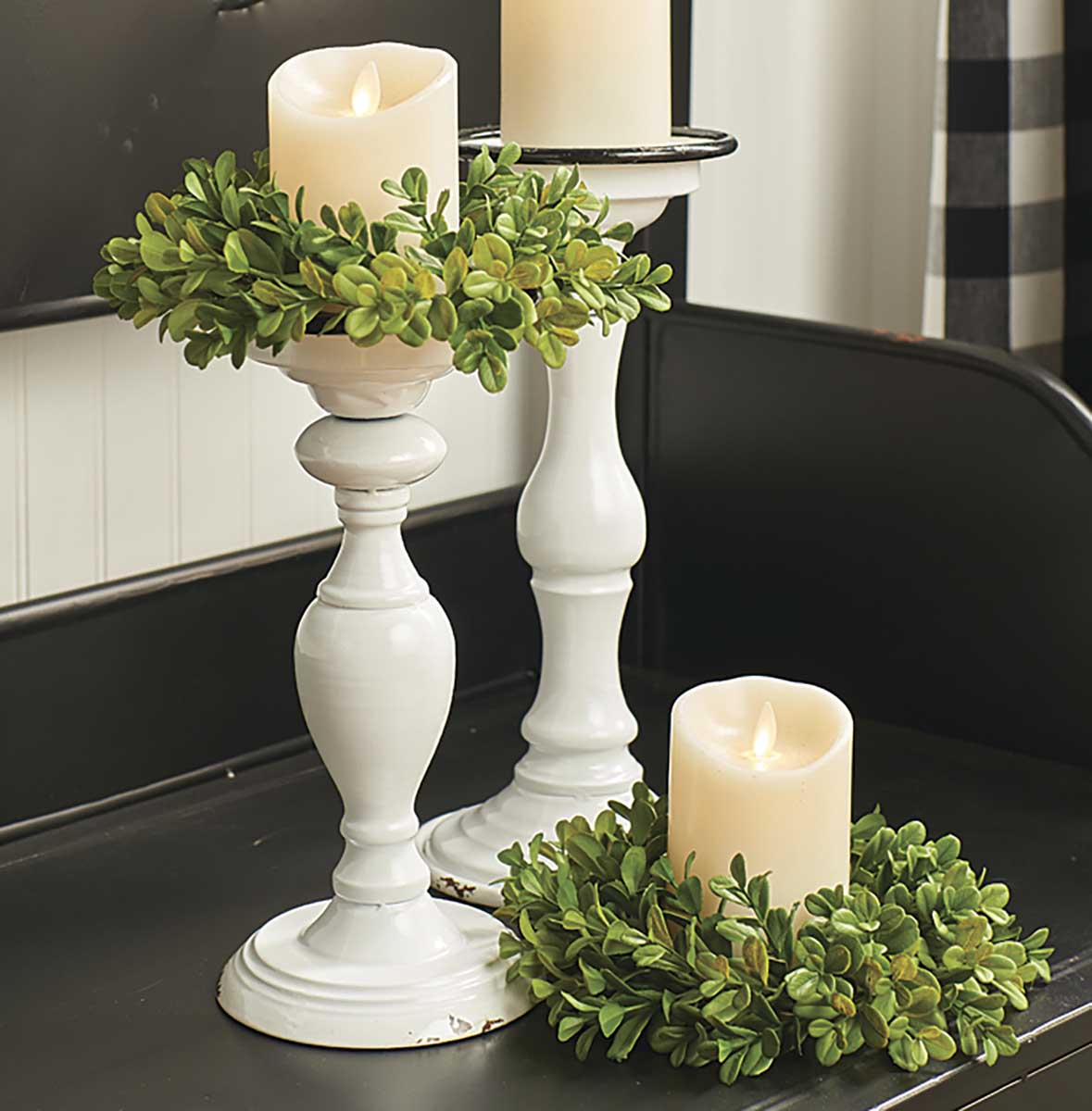 Candle Holder - Distressed White, 13'