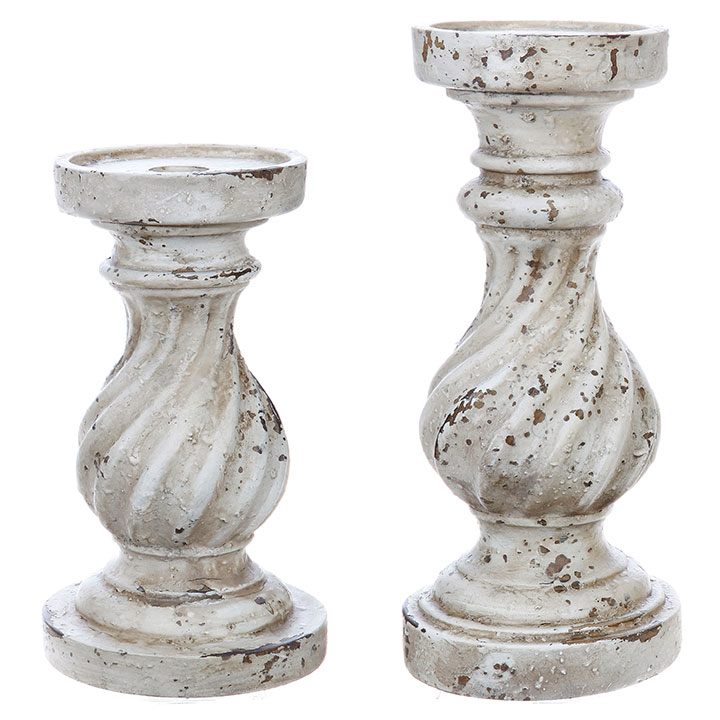Candle Stand - Distressed Off White, 9.5'