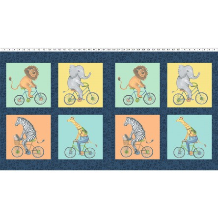 Clothworks - Bike Ride - 24' Block Panel, Multi