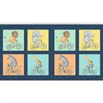 Clothworks - Bike Ride - 24^ Block Panel, Multi