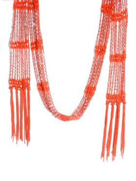 Crazy Scarf - Orange w/Silver Beads