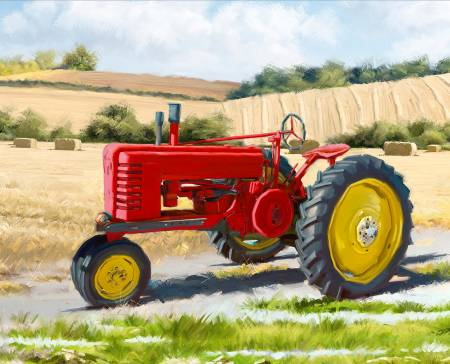 David Textiles - Four Seasons - 36' Panel 1822 Red Tractor, Multi