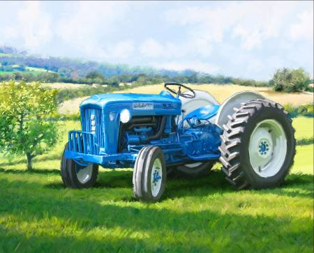 David Textiles - Four Seasons - 36' Panel 1823 Blue Tractor, Multi