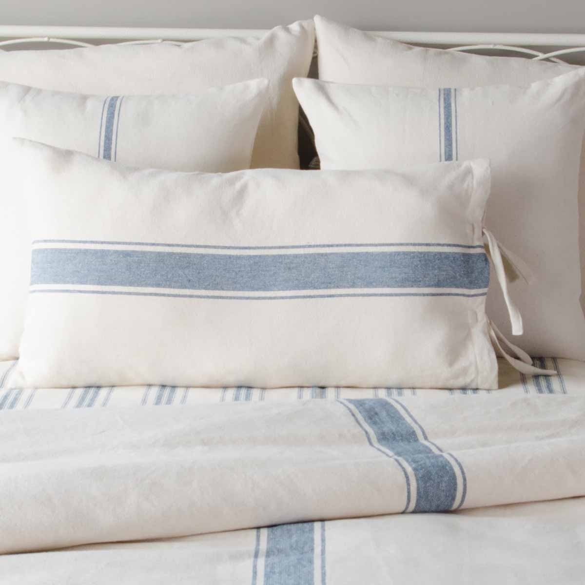 Duvet - Grain Sack Stripe, Cream/Blue Duvet