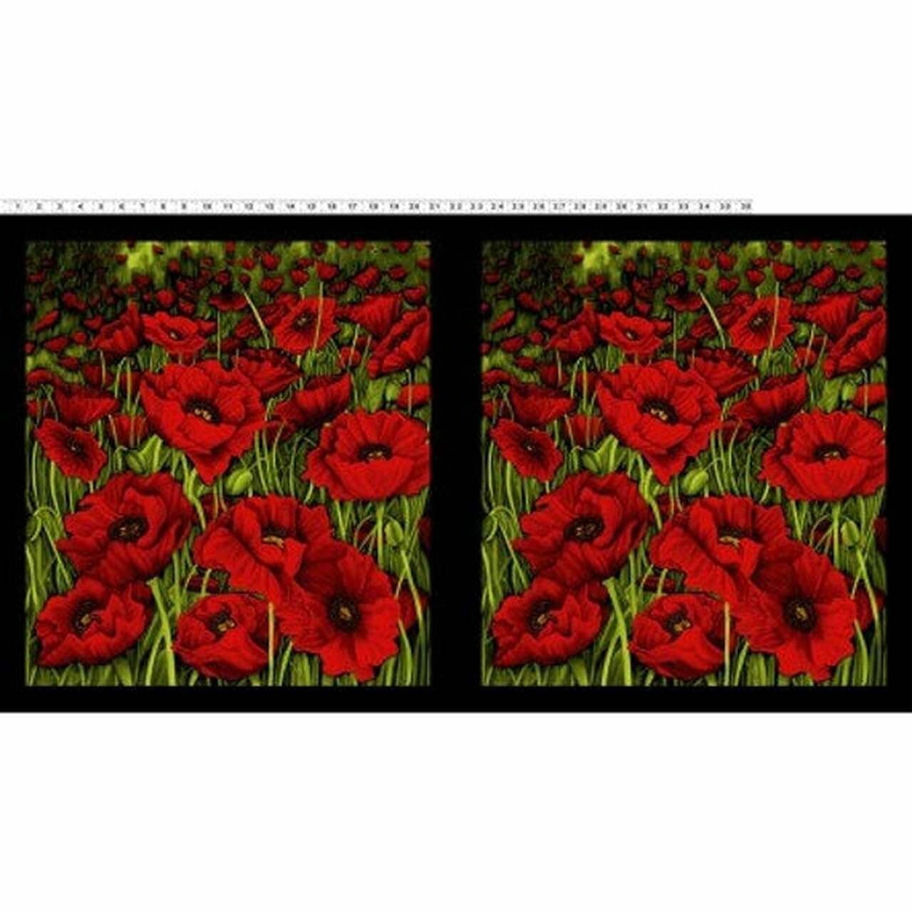 FABRIC - POPPY POETRY - Large Red Poppies