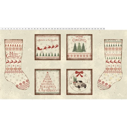 Fabric - Home For Christmas Light Khaki