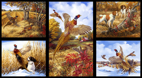Fabric - Pheasant Run - 24' Panel Pheasants
