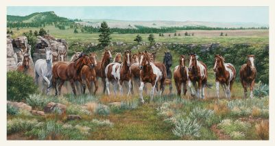 Fabric - Wild and Free - 24' Panel -  Horses