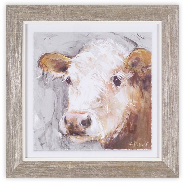 Framed Cow Print - Brown Cow
