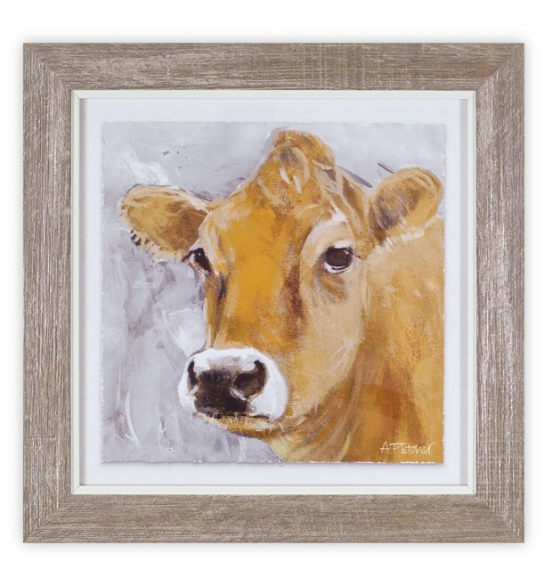 Framed Cow Print - Yellow Cow