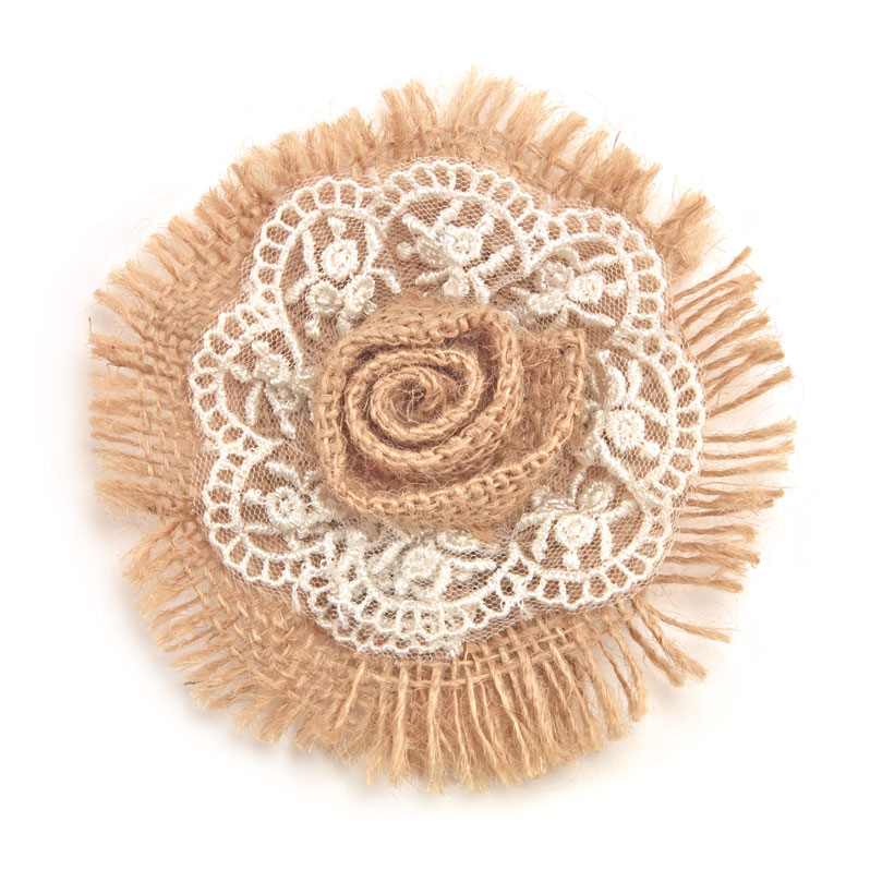 Fringed Burlap Rose With Lace