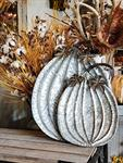 Galvanized Metal Pumpkin Tray, Large