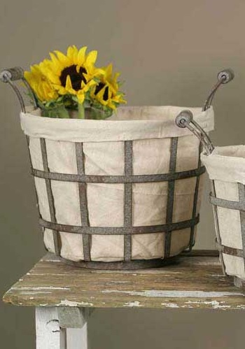 Garden Basket w/Canvas Liner, Large