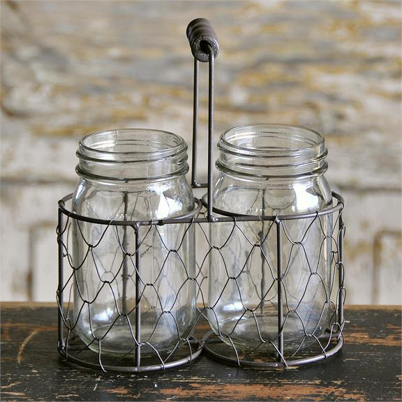 Jars - 2 Jars In Mesh Basket w/Handle