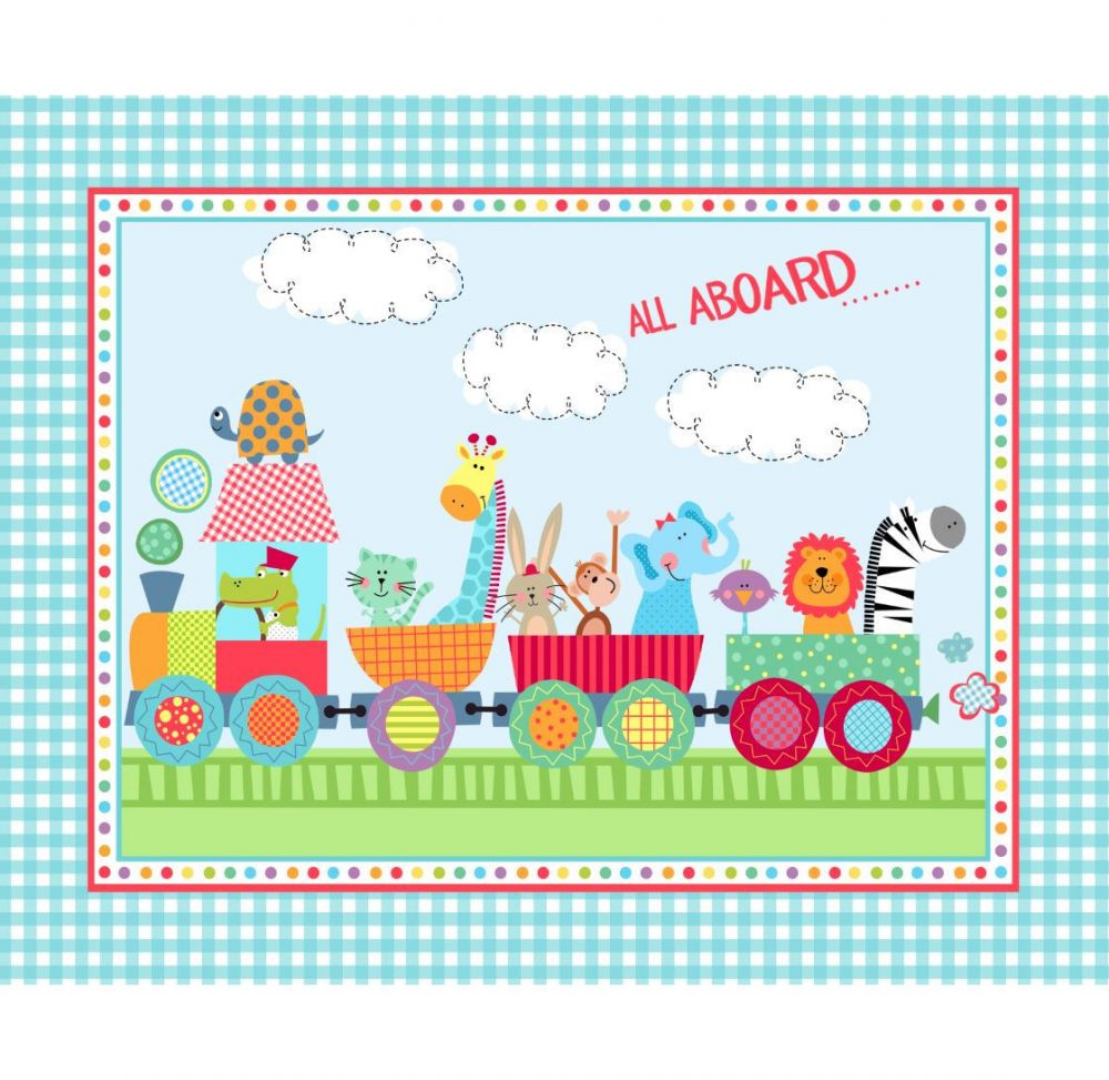Marshall Drygoods - Pre-Quilted Baby Panels-Animal Train