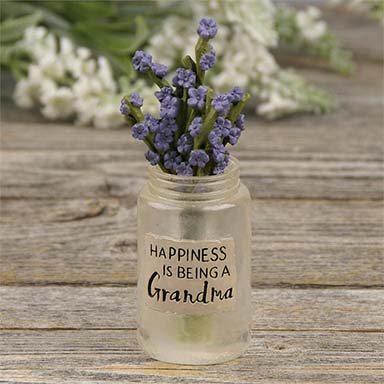 Mason Jar - Grandma With Flowers