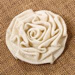 Medium Cream Burlap Rosette
