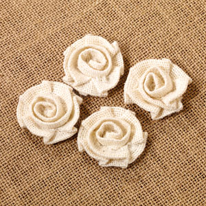 Mini Cream Burlap Rosettes