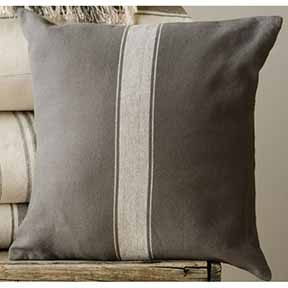 Pillow Cover - Pewter with Cream Stripe, Square