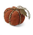 Pumpkin - Orange Burlap with Braided Twine, Large