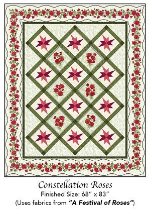 Quilting Pattern - Constellation Roses - 68' x 83'