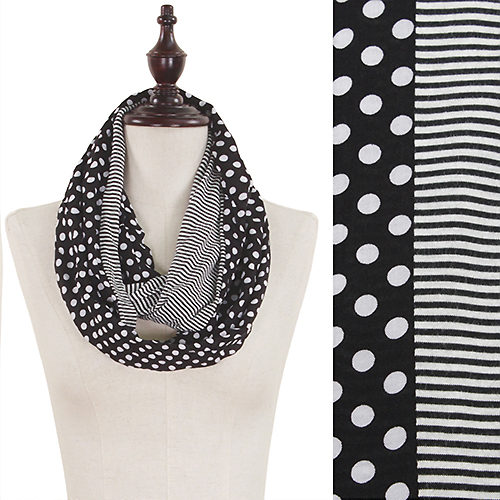 SCARF -  INFINITY POLKA DOT & STRIPES BLACK