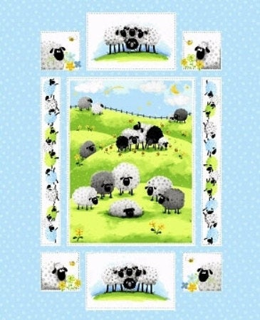 SusyBee - Lewe The Ewe - 36' Quilt Panel, Lt Blue