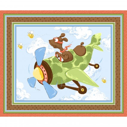 SusyBee - Zig - The Flying Ace Dog - 36' Playmat Panel, Milk Chocolate