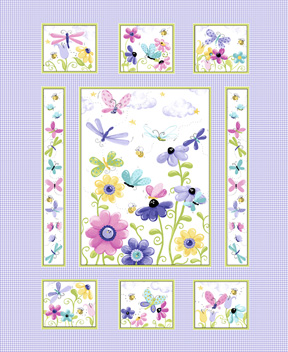 Susybee - Flutter The Butterfly - 36' Checkered Panel, Lilac