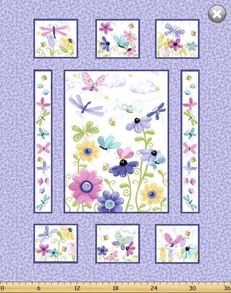 Susybee - Flutter The Butterfly - 36' Quilt Panel, Lilac