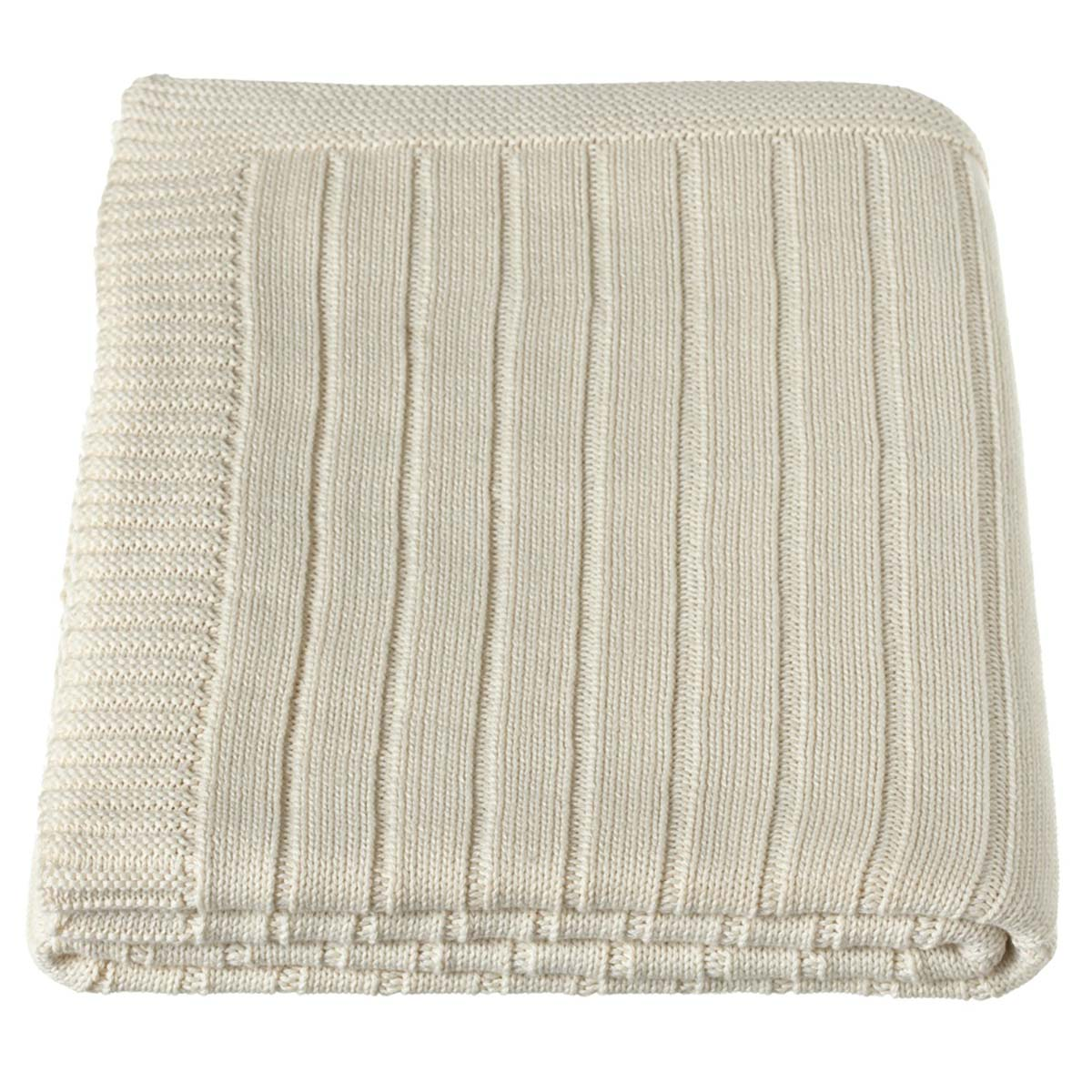 Throw - Cream, Ribbed Knit