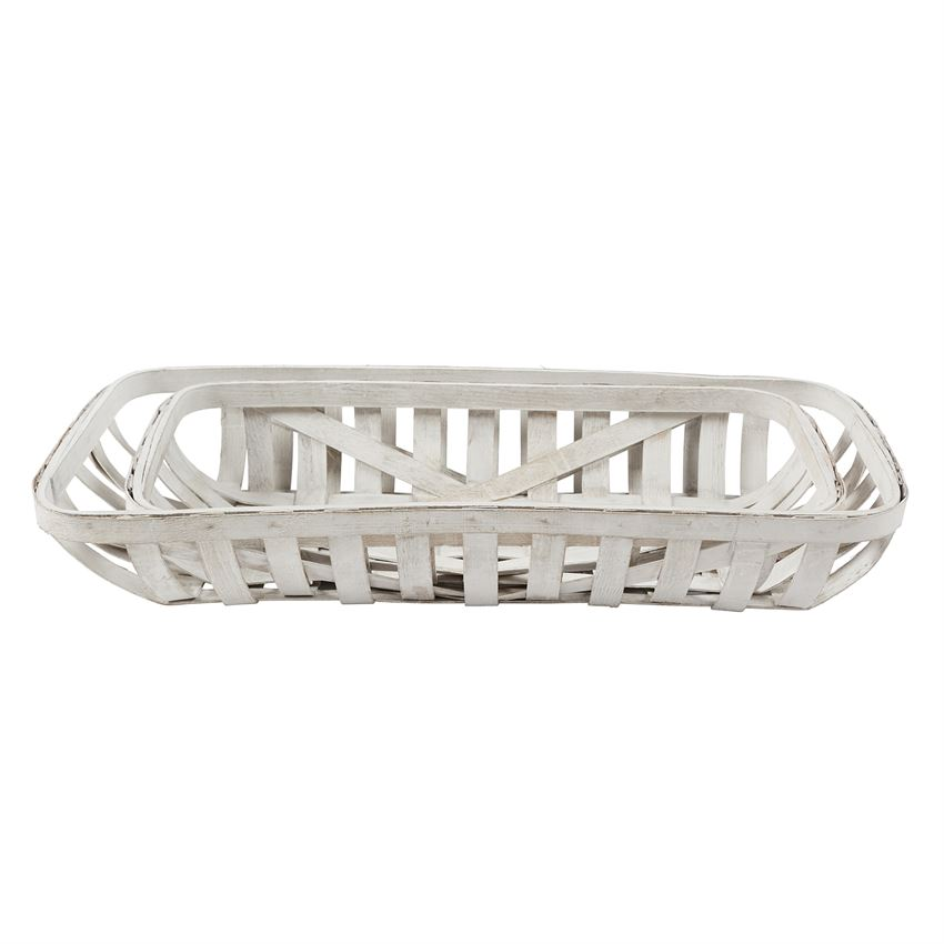 Tobacco Basket - White, Large, Rectangle