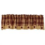 VALANCE - BURGUNDY FARMHOUSE STAR