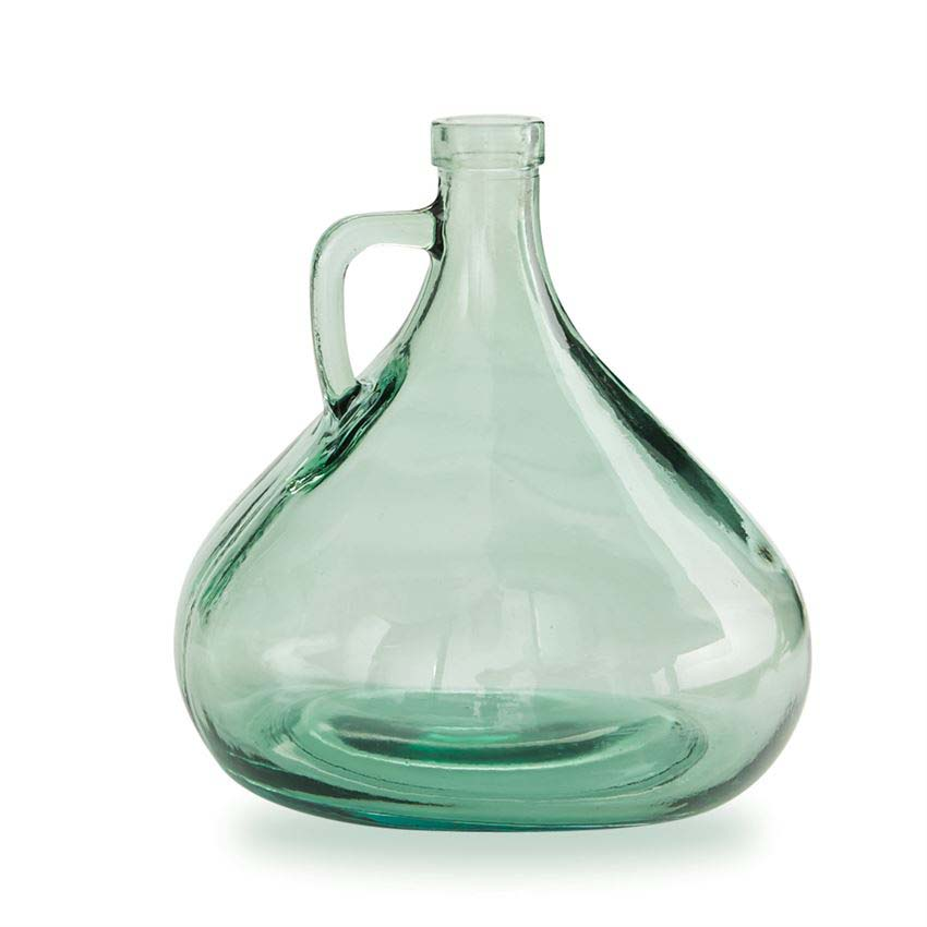 Vase - Short Green Vase With Handle