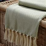 WOVEN THROW - BABY MINT W/IVORY TASSELS 48X36