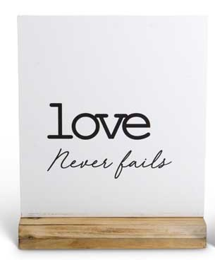 White Tabletop w/Wood Base - Love Never Fails